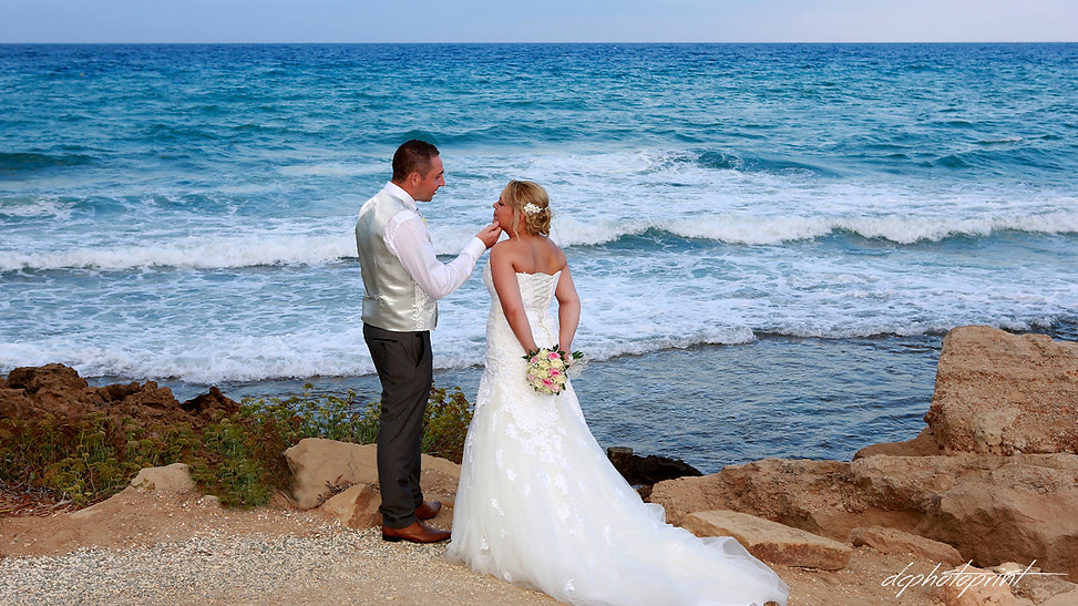 Picture of romantic young couple on the Protaras sea shore | cyprus wedding photographers town hall protaras, wedding protaras photographers