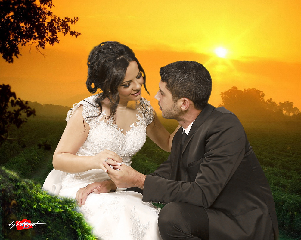 Beautiful and gentle wedding photo session outdoors of the elegant couple at sunset holding hands. Groom putting a ring on bride's finger ( bride in a white dress )