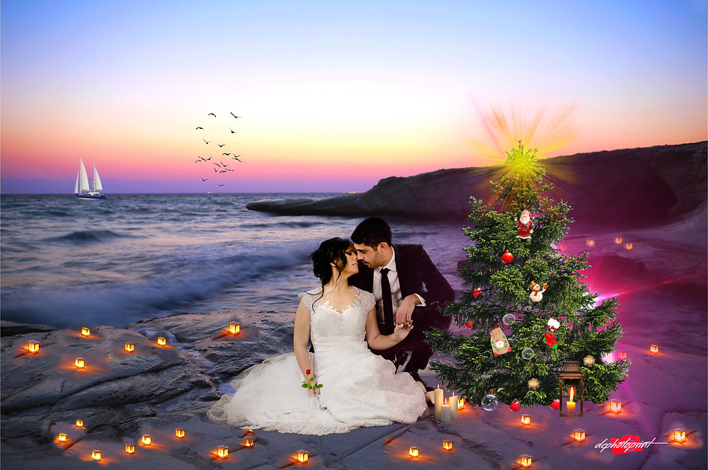 Beautiful and gentle wedding photo session outdoors ( Christmas theme ) of the elegant couple on Limassol beach.