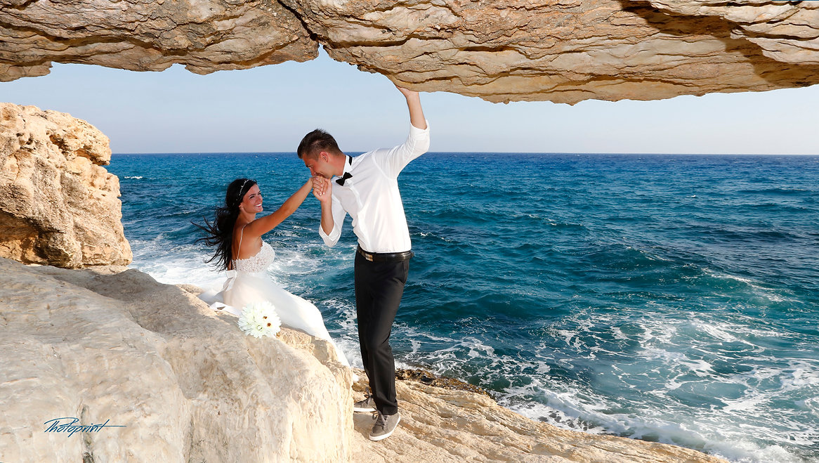 Bride & Groom Married Couple Sunset Beach Wedding at Gavo Greco near ayia napa | cyprus wedding photographer in ayia napa town hall, cyprus wedding best photography in ayia napa town hall