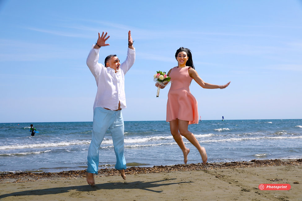 Happy young couple after the wedding having fun on the desert sunny beach of Larnaca | ayia napa municipality wedding