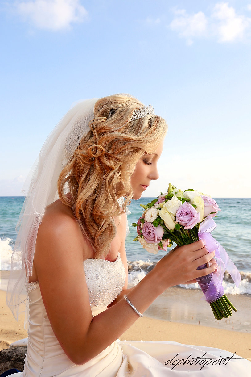 Happy brunette bride Close-up portrait of gorgeous beautiful bride in white dress with amazing hair style and make up, with bouquet of flowers outdoors, Bespoke wedding pictures ideas in Paphos cyprus, Bespoke wedding pictures ideas cyprus