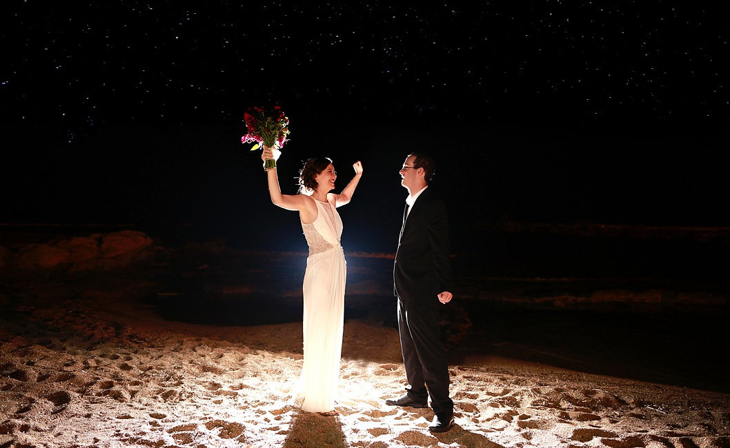 Romantic picture of the marriage couple night by the sea at Athena Beach Hotel in Paphos | cyprus wedding Paphos photographers near, cyprus wedding Paphos photography tips