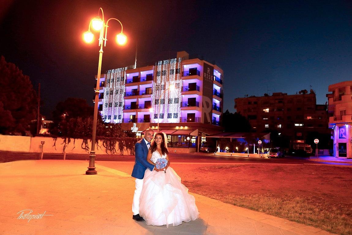 Wedding couple enjoying romantic moments outdoors at night after the wedding | professional wedding photo cyprus,larnaca wedding in cyprus,wedding photographers lebanon  aradippou | larnaca