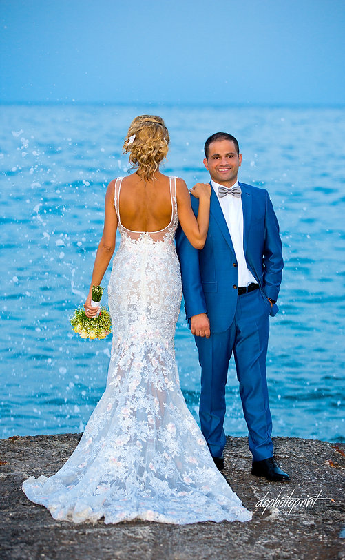 An exellent pose near the sea by Mazen and Doris near the sea in the area of Protaras | Protaras best weddings abroad, photographer in protaras