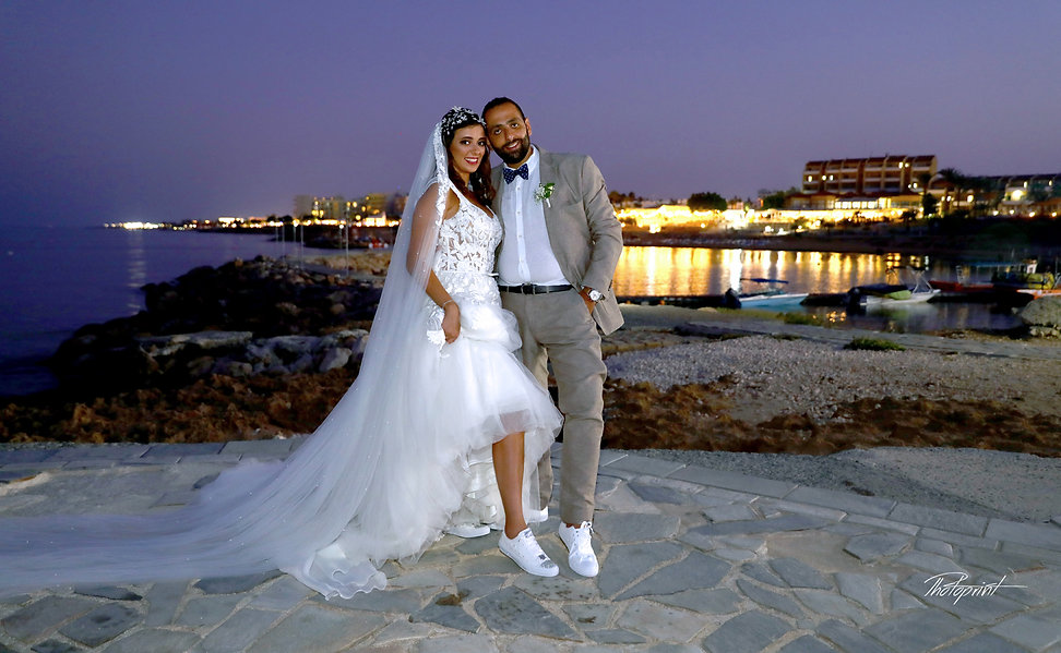 Beautiful wedding photo session outdoors of the elegant couple  after the wedding | Protaras cyprus photographers
