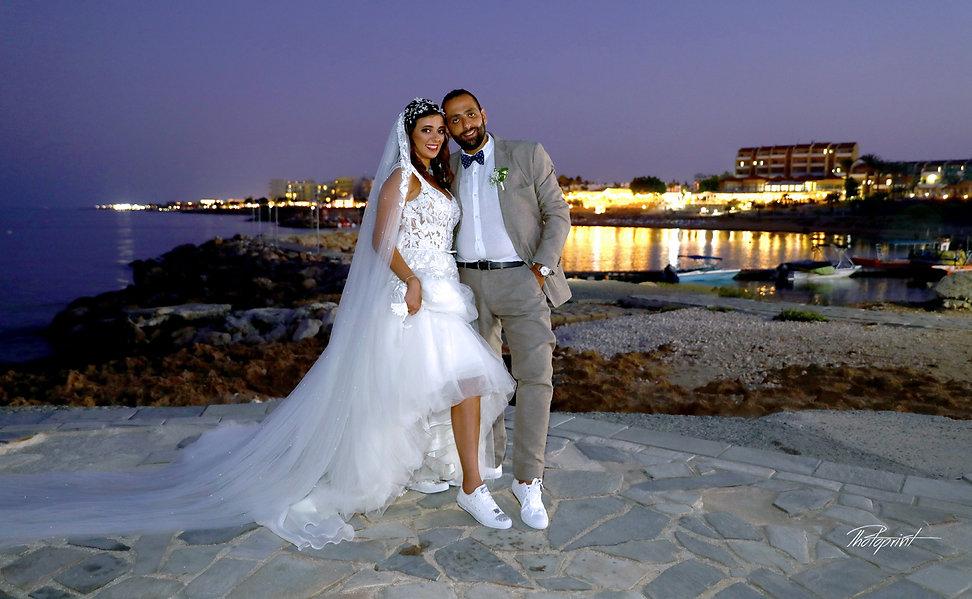 Beautiful wedding photo session outdoors of the elegant couple  after the wedding | Protaras cyprus photographers