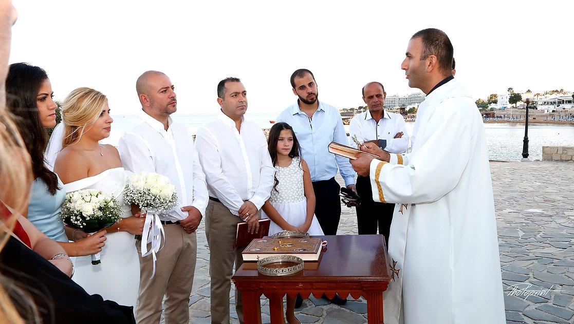 Beautiful and gentle wedding ceremony photo session outdoors of the elegant couple | lebanese weddings in Protaras, lebanese wedding in cyprus