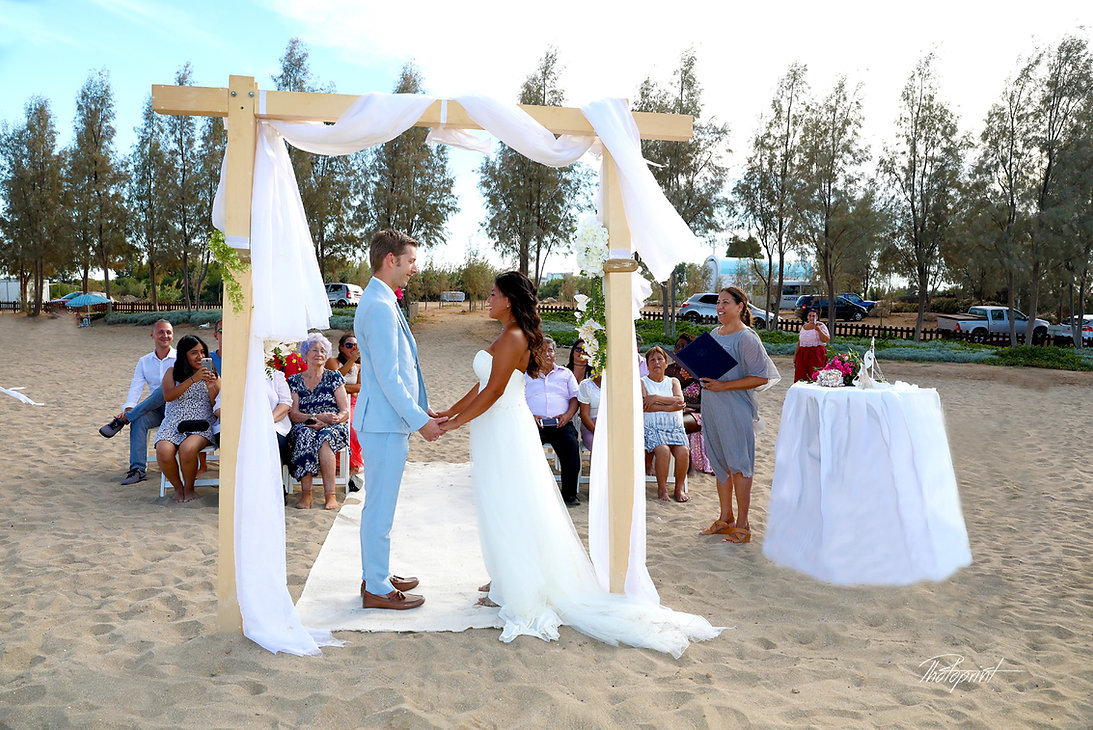 Wedding ceremony in a beautiful sandy beach at Agia Trada |