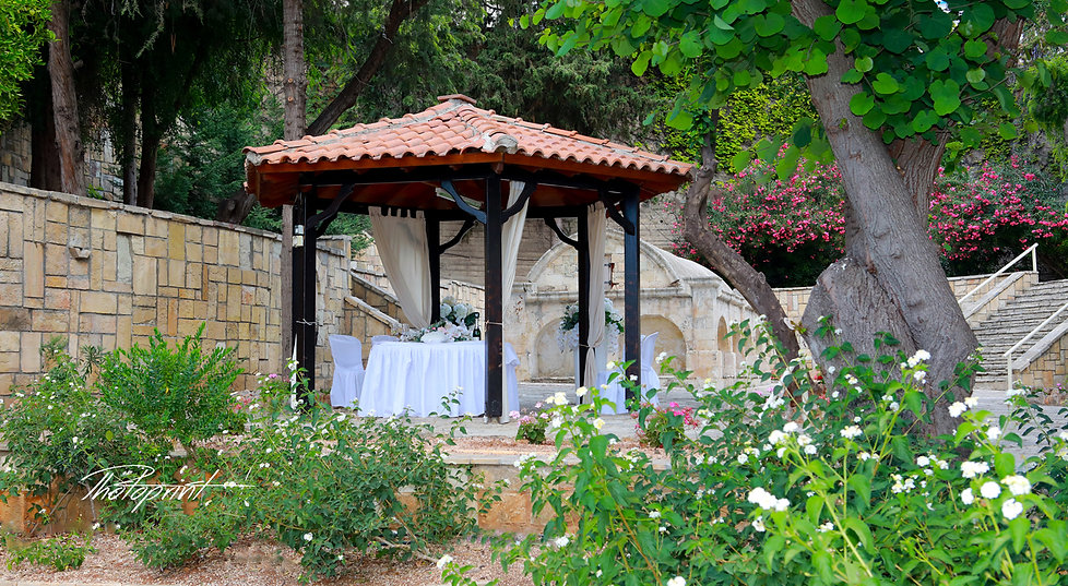 Wedding Kiosk in Peyia village, Paphos decorated with flowers in Beautiful wedding set up , outdoor |  wedding venues Paphos, wedding photography Paphos