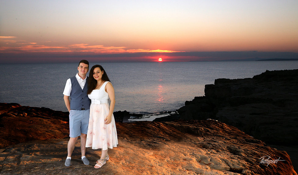 Picture of Elegant beautiful Just married romantic couple at Sunset on a Beautiful Paphos Beach