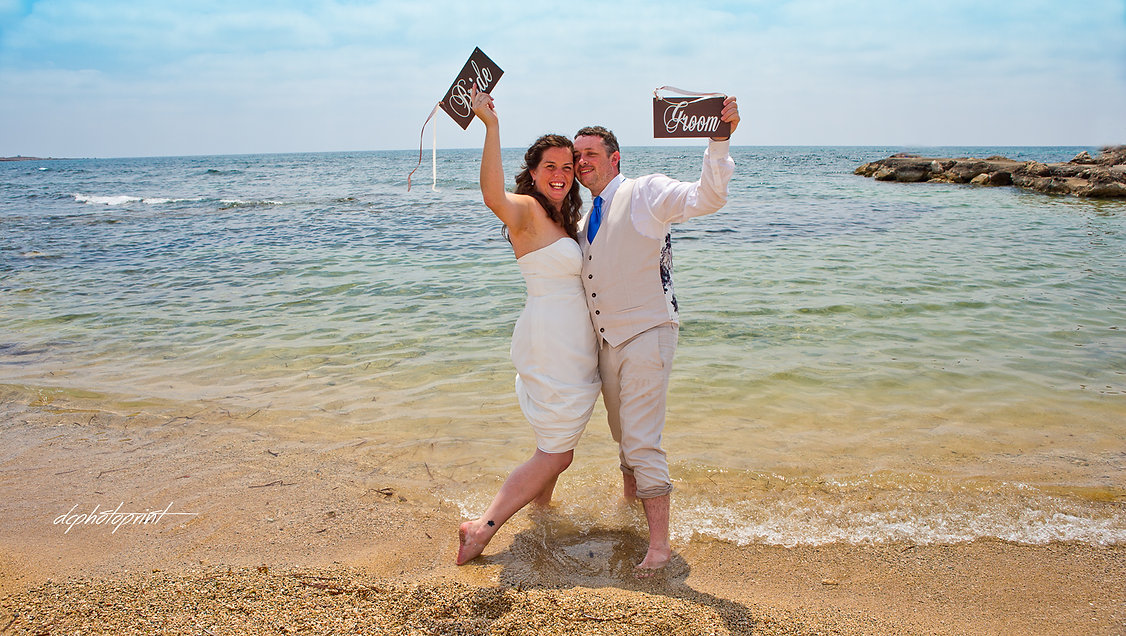 Happy just married young wedding couple celebrating in paphos beach | paphos wedding  photographer,wedding photographers paphos prices, wedding photography ideas paphos cyprus
