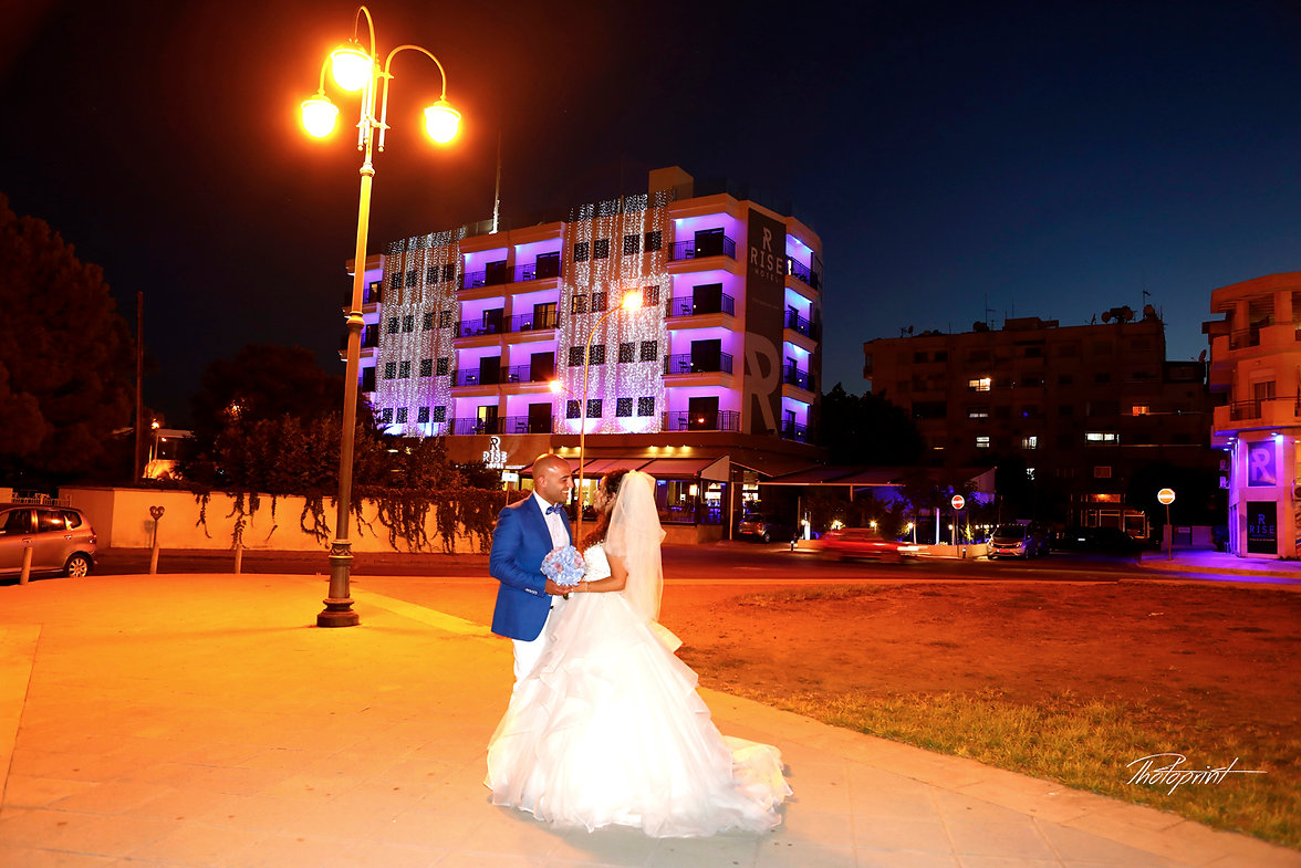 Wedding couple enjoying romantic moments outdoors at night | larnaca wedding in cyprus, wedding photography packages cyprus, arnaca wedding photographer cost
