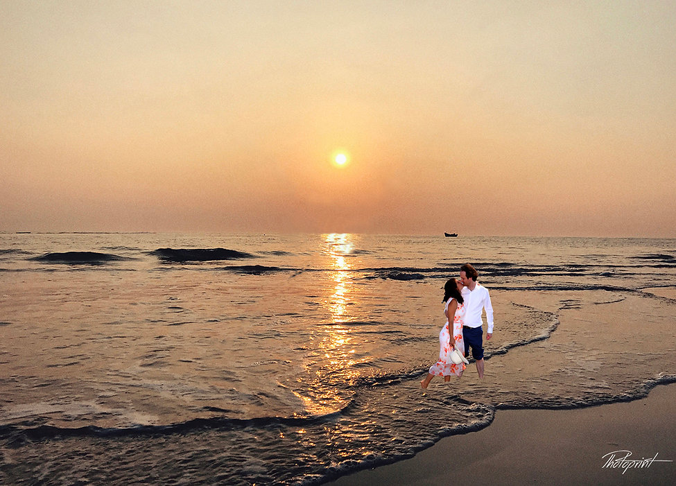 Happy just married young wedding couple celebrating and have fun at beautiful beach sunset | cyprus wedding photographers packages for Paphos