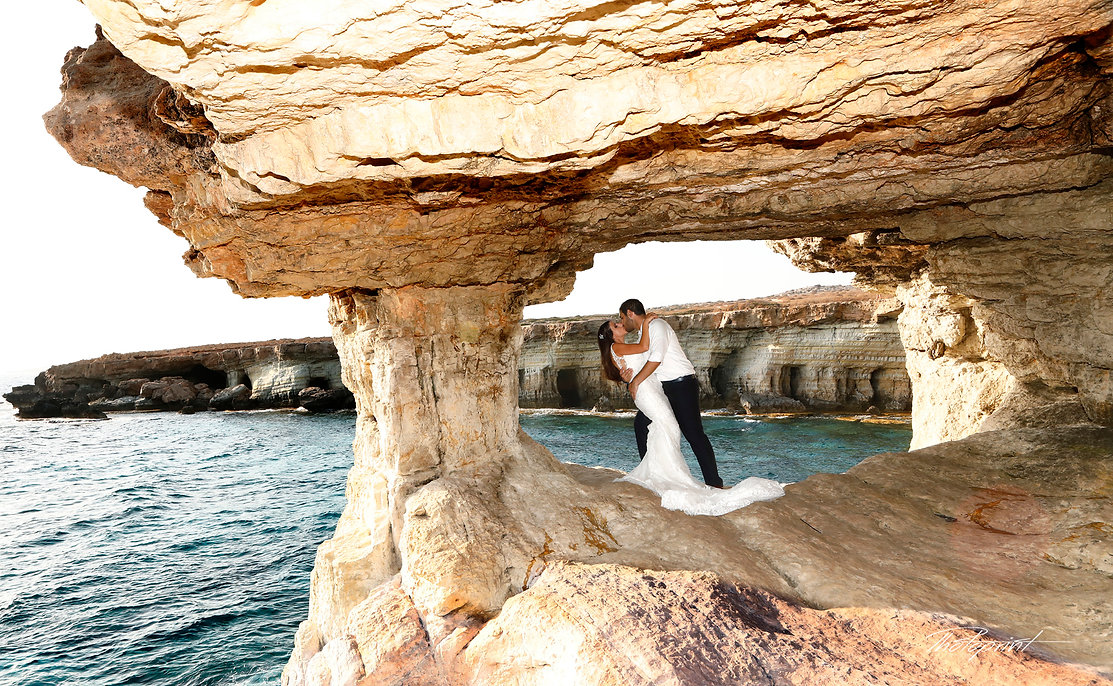 Happy just married young wedding couple celebrating and have fun at beautiful beach gape greco near agia napa, Kissing  | cape greco beach wedding photograper, wedding photographers cape greco photography photographer