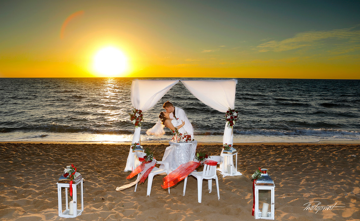 Picture of Elegant beautiful Just married romantic Bride and Groom, Kissing at Sunset on a Beautiful Mediterranean Beach lemba paphos | wedding photographer Paphos cyprus,  wedding photographer in Paphos cyprus, wedding Paphos photo prices