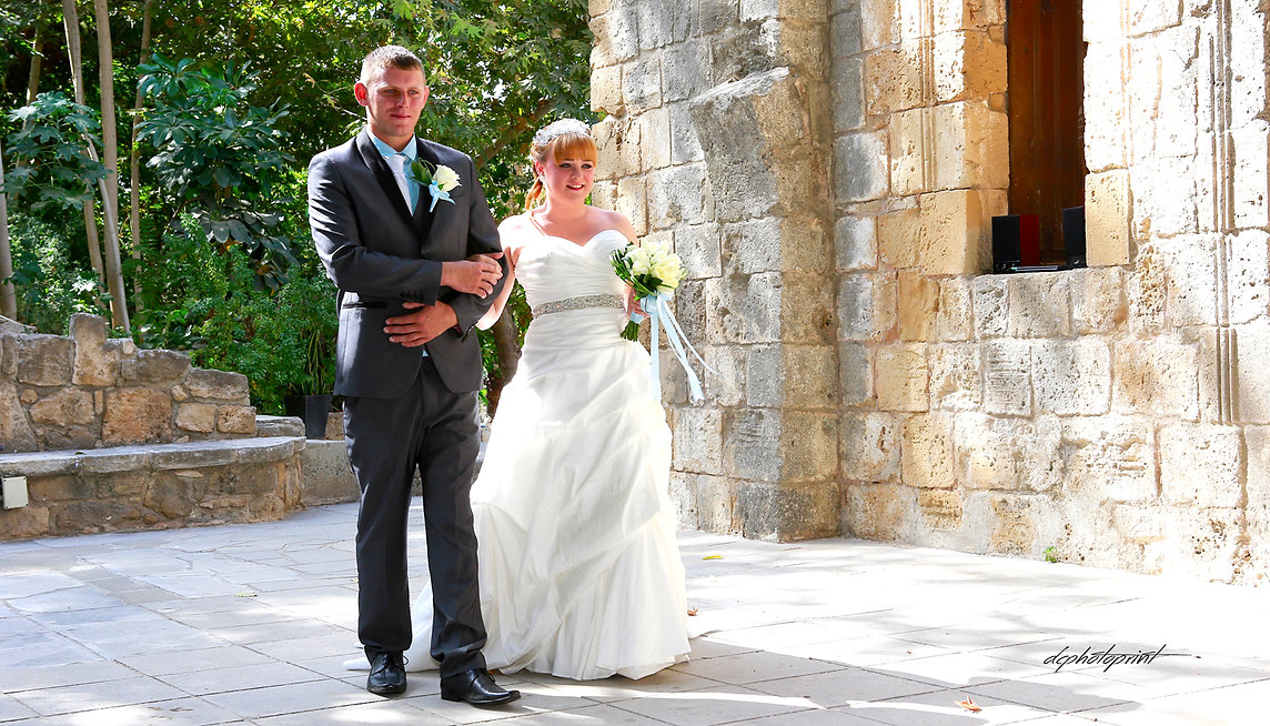 Happy Jason and Kelseigh before the wedding ceremony in Ottomans Baths Paphos | Ottomans Baths Paphos wedding photorapher, cyprus Paphos wedding photography  cost
