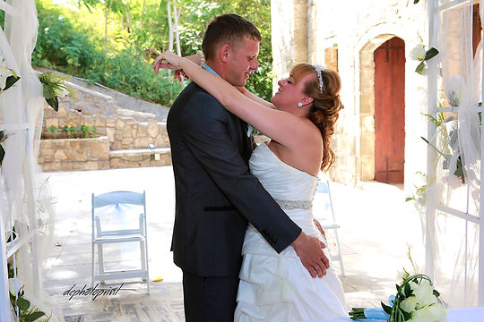 Romantic scene of kissing marriage after the wedding ceremony |  cyprus cheap wedding photographer prices, bridal photographer cyprus