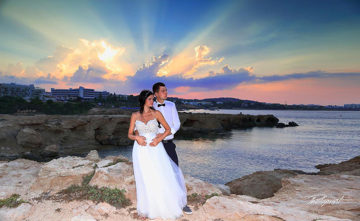 Bride and Groom, at Sunset on a Beautiful Mediterranean Beach at Protaras, cyprus | best protaras wedding venues, Civil Ceremonies for Lebanese citizens in cyprus, civil wedding ceremonies for lebanese, wedding beach photography in Protaras.