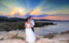 Bride and Groom, at Sunset on a Beautiful Mediterranean Beach at Protaras, cyprus |  Protaras beach hotel wedding package, protaras beach wedding package