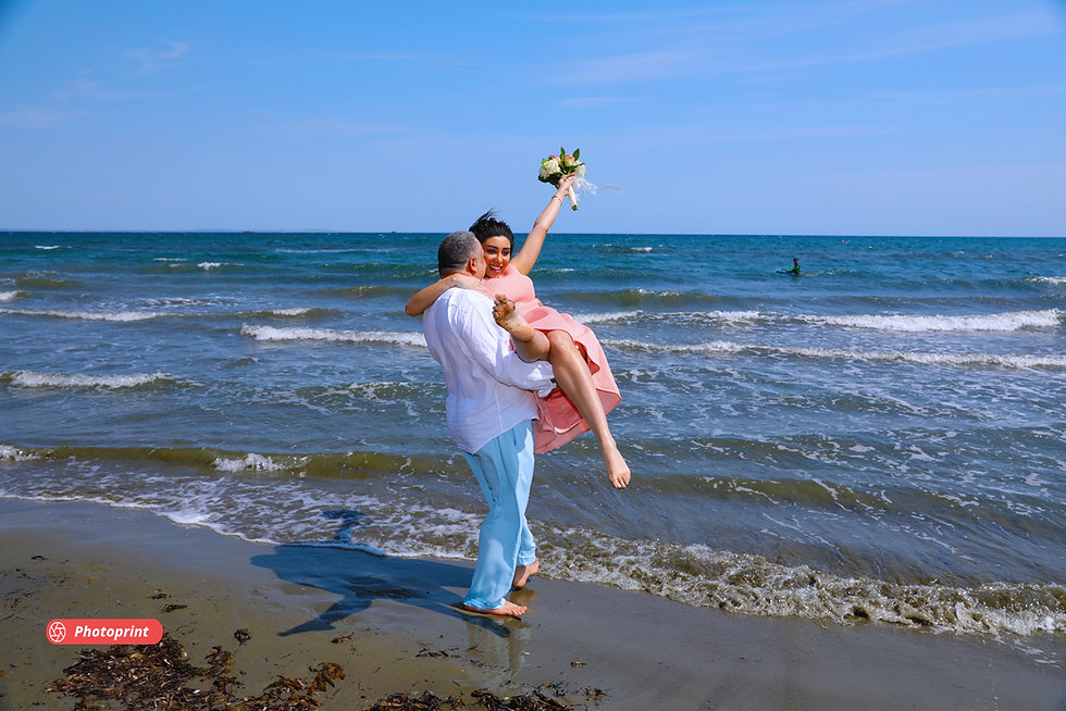 Beautiful and gentle wedding photo session outdoors by the sea | own hall ayia napa best wedding photography