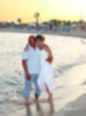 Bride and Groom, Kissing at Sunset on a Beautiful Mediterranean Beach Sirens near ayia Thekla, cyprus | professional wedding photography ayia thekla cyprus , wedding Sirens beach near ayia thekla photographer photography
