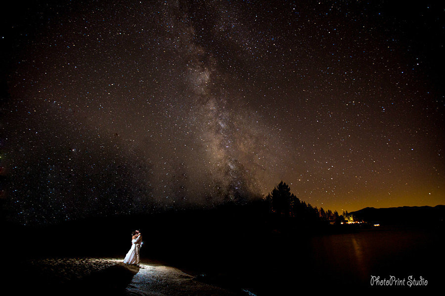 Bride and groom kissing outdoors under starry sky
