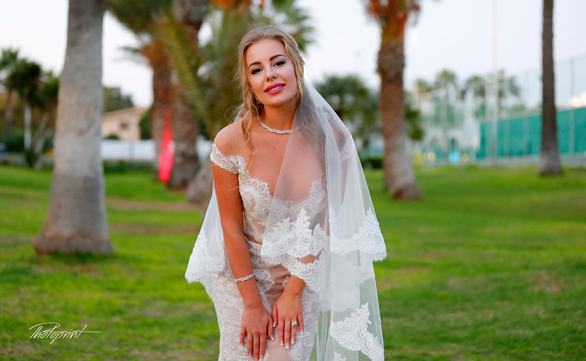 Happy brunette bride Close-up portrait of gorgeous beautiful bride in white dress with amazing hair style and make up |  wedding photography prices cyprus, wedding photography prices larnaca cyprus, larnaca municipality civil marriage