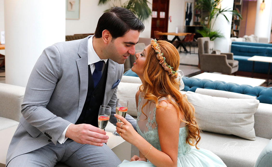 Wedding couple enjoying romantic moments in Hilton Park Hotel |  cyprus wedding photographer ayia napa,larnaca wedding photographer, wedding photography limassol