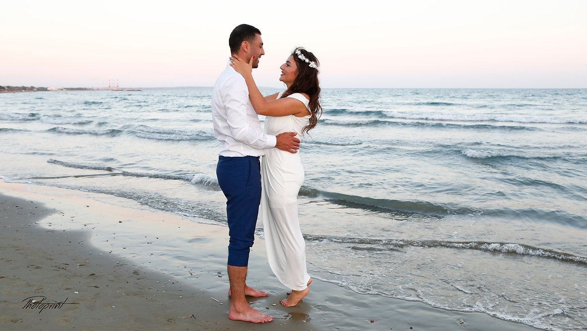 Portrait of beautiful bride and groom at the beach | wedding photographer larnaca, marriage at city hall  Larnaca