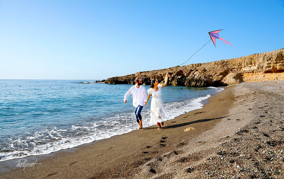 Beautiful and gentle wedding photo session outdoors of the elegant couple at Paphos