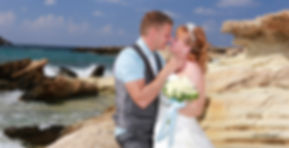 Happy just married young wedding couple celebrating and have fun at beautiful beach in Paphos | cyprus weddding photographer paphos, Paphos wedding photography