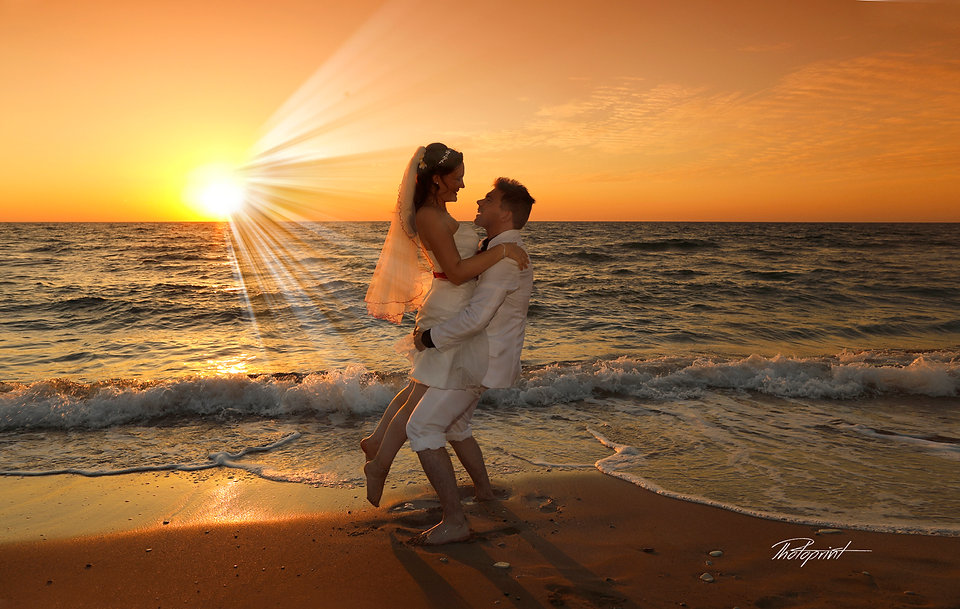 Beautiful and gentle wedding photo session outdoors of the elegant couple, Sunset photography