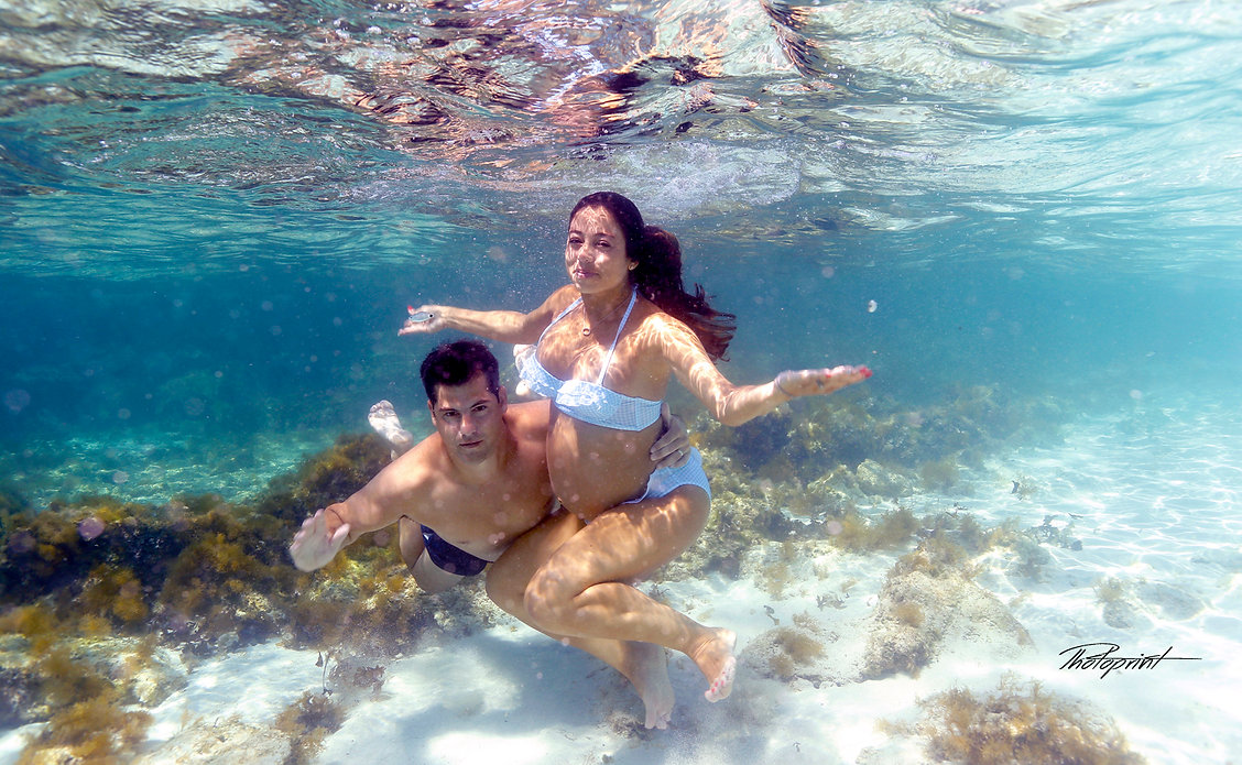 Raphael and Athena from San Francisco USA in Amazing Photo Shooting by Nissi beach at Adams Beach Hotel, Ayia napa Cyprus Beach and underwater Pregnancy Photography