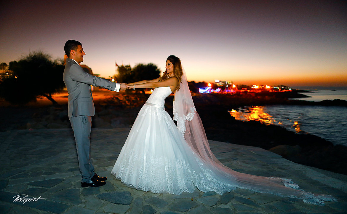 Bride and Groom, Kissing at Sunset on a Beautiful Mediterranean Protaras Beach | cyprus cheap wedding photographers prices,cyprus cheap wedding photographer reviews, best wedding photography websites cyprus