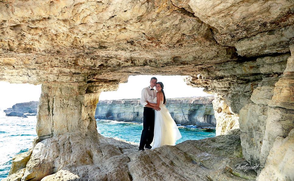 Happy young Bride and Groom at cave creco Proraras |  wedding venues in protaras, cyprus weddings Hotels