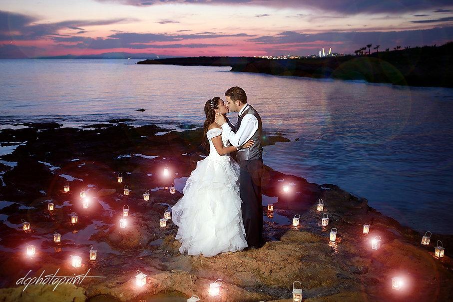Romantic couple on beach at sunset