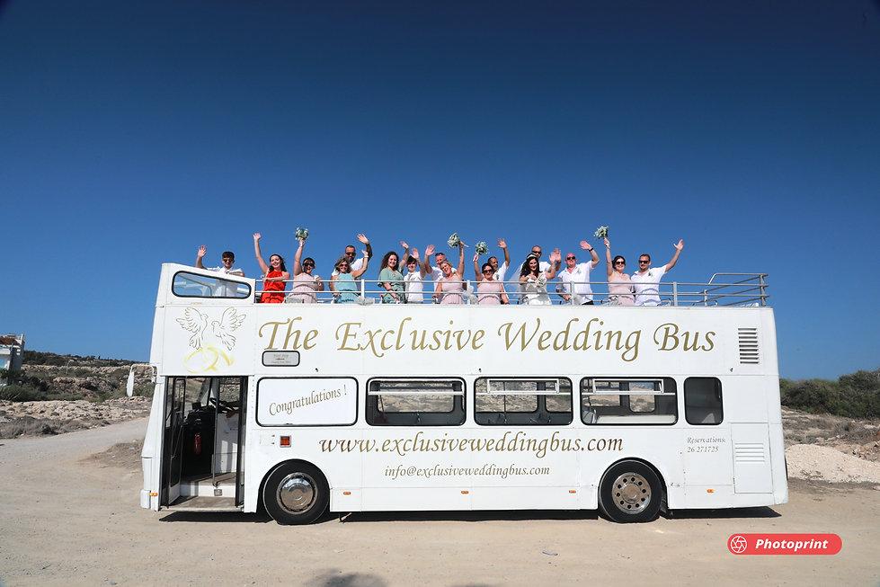 Newlywed Couple Bridesmaids Groomsmen Having Fun Outdoors on The Exclusive Wedding Bus