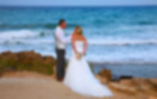 Beautiful and gentle winter wedding photo session outdoors of the elegant couple (bride in a white dress with veil holding a bouquet and groom in the classic tuxedo costume), romantic portrait | wedding protaras photographer, cyprus sunset images protaras wedding photography