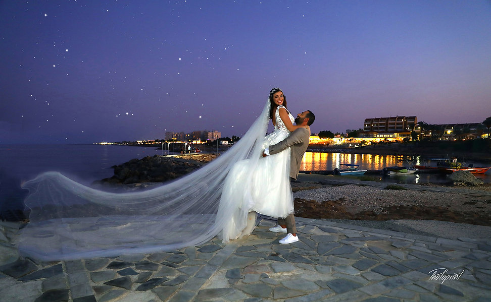 Beautiful and gentle wedding photo session outdoors under starry sky at night | cyprus cheap wedding photographers price