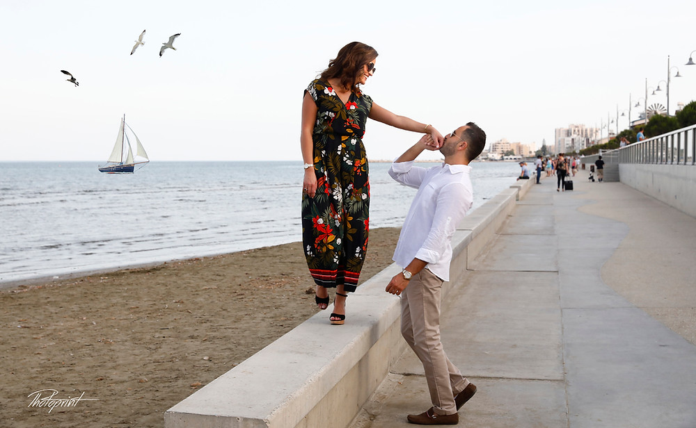 Beautiful and gentle wedding photo session outdoors of the elegant couple on Larnaca beach.