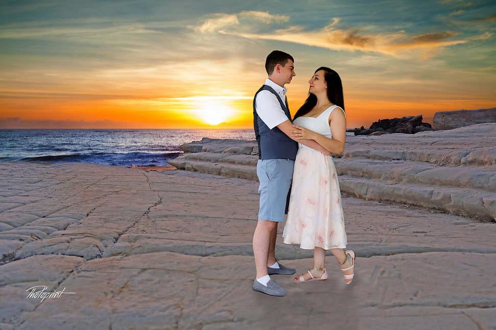 Happy just married young wedding couple celebrating and have fun at beautiful beach sunset at Paphos