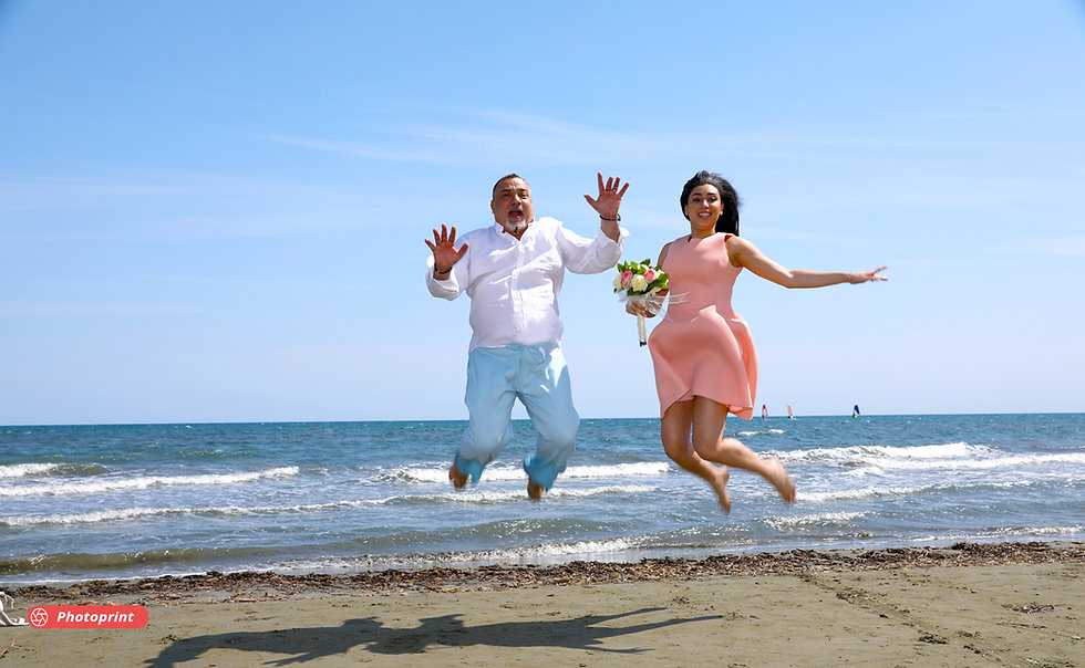 Happy young couple after the wedding having fun on the desert sunny beach of Larnaca | Larnaca wedding photographers