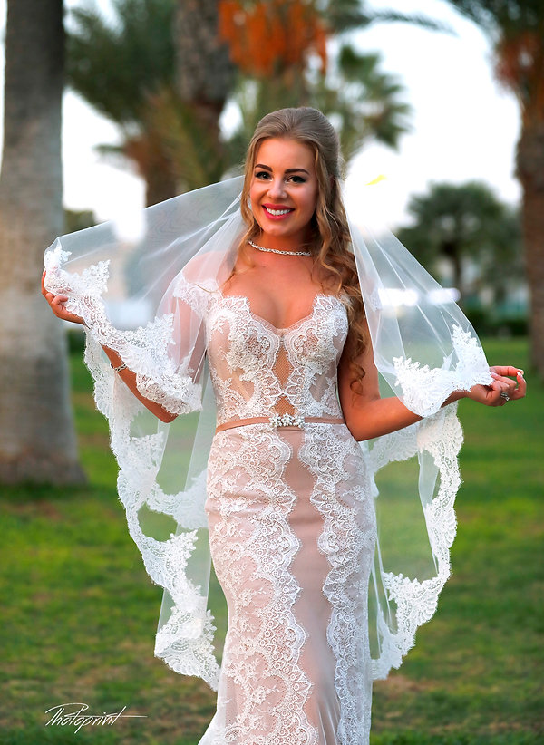 Beautiful Bride in the park of Golden Bey Beach Hotel in Larnaca | cyprus images wedding photography, photoprint cyprus wedding photography, married in paphos municipality cyprus