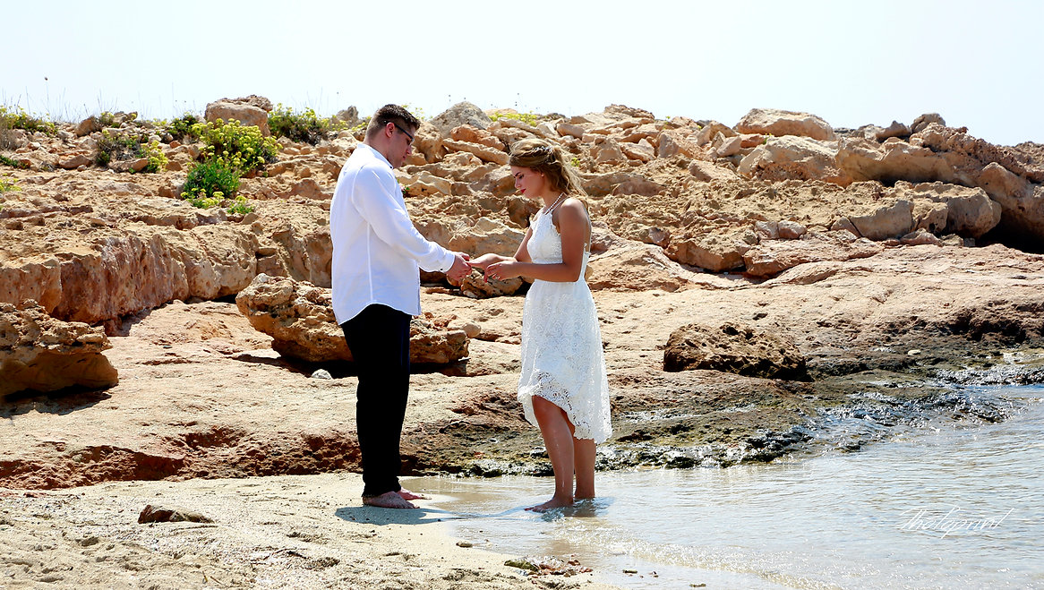 Bride and groom by the sea | ayia napa famous wedding photographers, ayia napa marriage in cyprus, marry in ayia napa cyprus