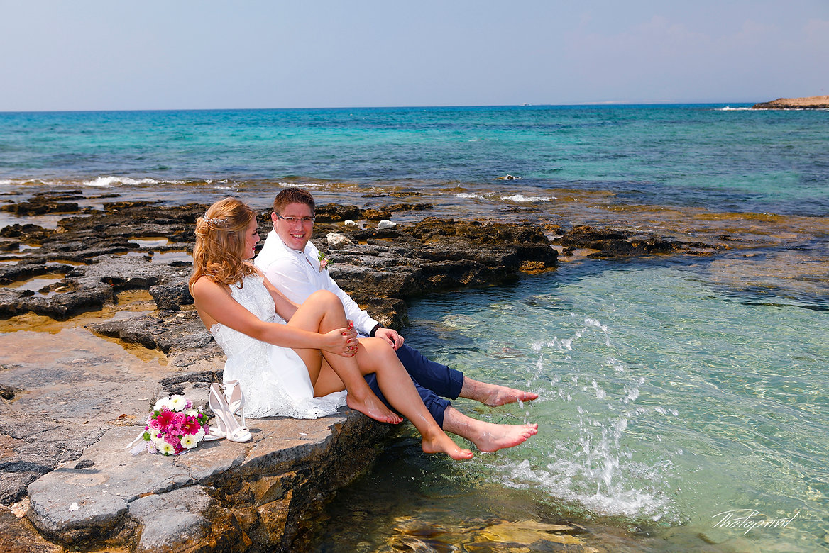 Alon and Valeria have fun and celebrate on the Agia napa's beach