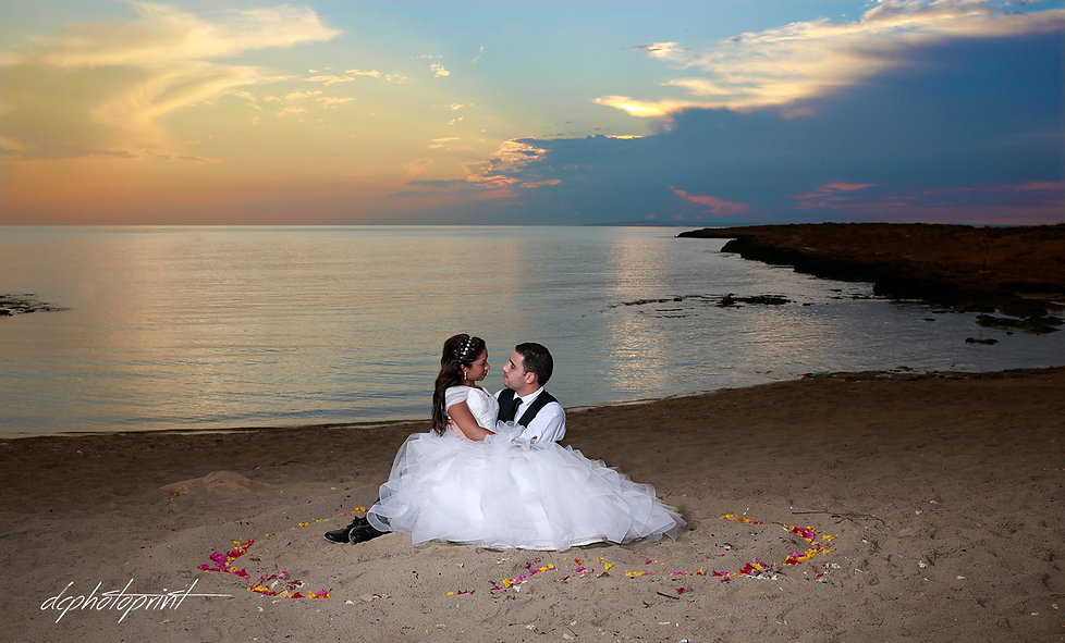 Loving couple together outdoors at ammos tou Kampouri near ayia napa after the wedding