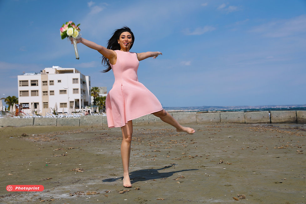 Just married bride on walking on the beach | ayia napa municipality best wedding ceremony photographer