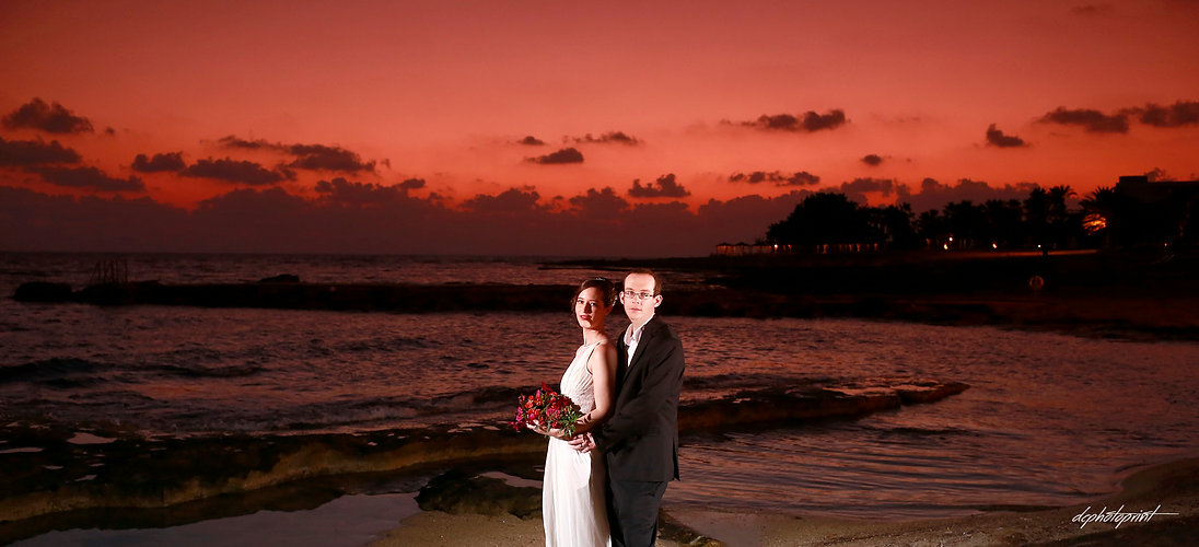 Picture of Elegant beautiful Just married romantic Bride at Sunset on a Beautiful Mediterranean Paphos Beach | cyprus wedding photography paphos, wedding photography ideas paphos cyprus