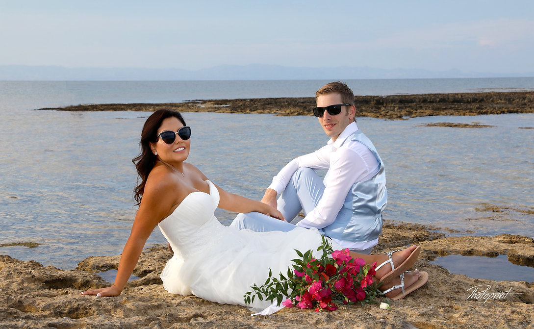Atilla and Sandra at the Agia Triada beach in sunset | wedding agia Triada  photographers
